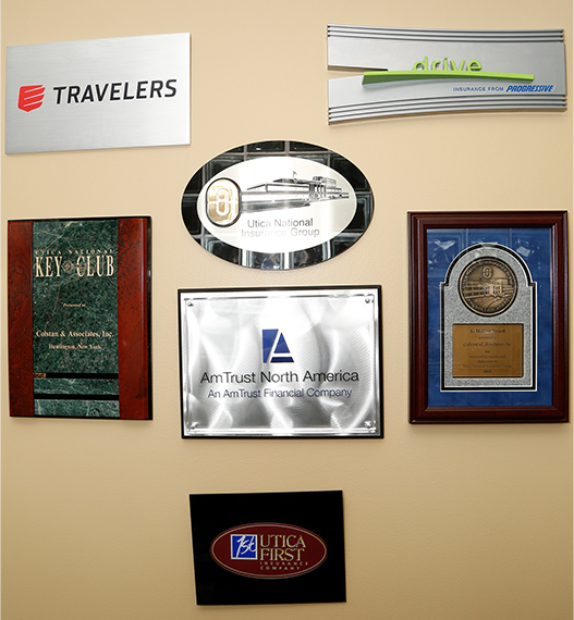 Insurance company plaques