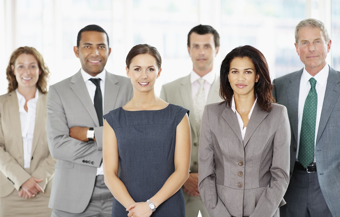 A group of male and female businesspeople