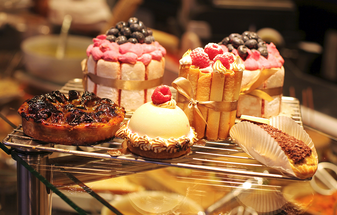 A display of deserts in a bakery