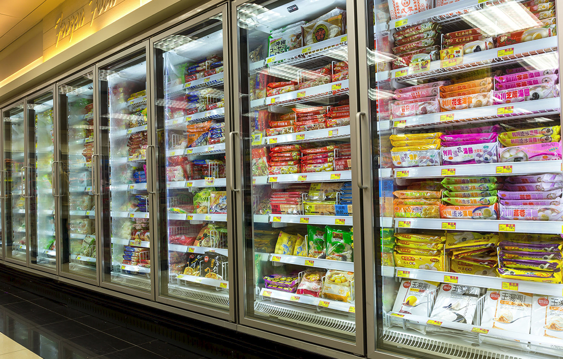 Frozen aisle of a convenience store